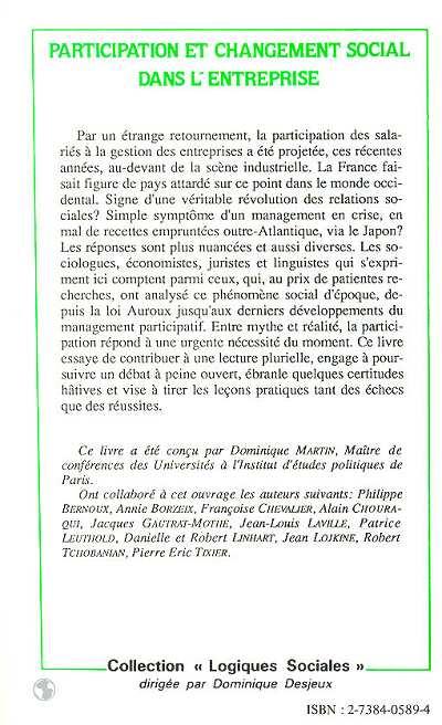Revues PARTICIPATION ET CHANGEMENT SOCIAL DANS L'ENTREPRISE