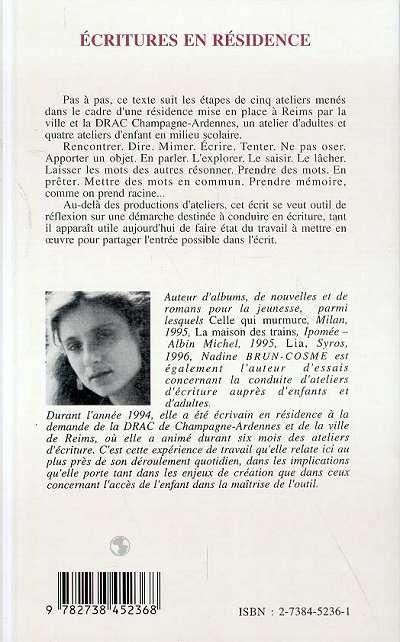 Ecriture en residence nadine brun cosme livre ebook epub for Ecriture en miroir psychologie