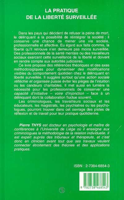 LA PRATIQUE DE LA LIBERTÉ SURVEILLÉE - Eléments de ...