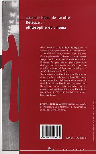 Deleuze philosophie et cinema (Lart en bref) (French Edition)
