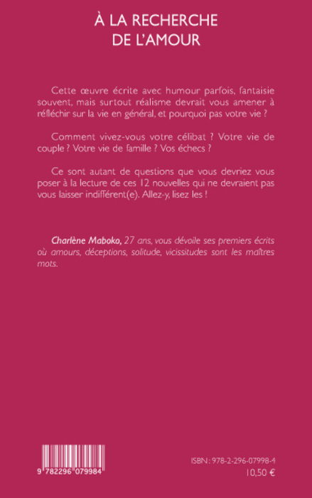 a la recherche de l 39 amour charl ne maboko livre ebook epub. Black Bedroom Furniture Sets. Home Design Ideas