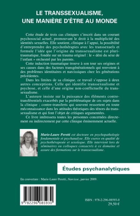 Le transsexualisme, une manière dêtre au monde (Etudes psychanalytiques) (French Edition)