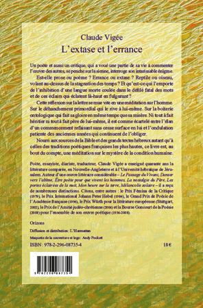 L'EXTASE ERRANCE ET ERRANCE L'EXTASE    Claude Vigée livre ebook epub 480600