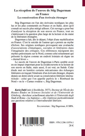 La r ception de l 39 oeuvre de stig dagerman en france la for Statut ecrivain