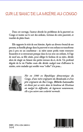 sur le banc de la mis re au congo bibiche lutonadio livre ebook epub. Black Bedroom Furniture Sets. Home Design Ideas