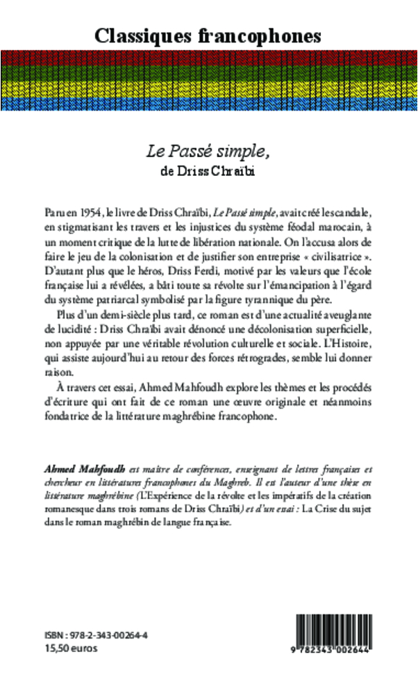 le passe simple de driss chraibi