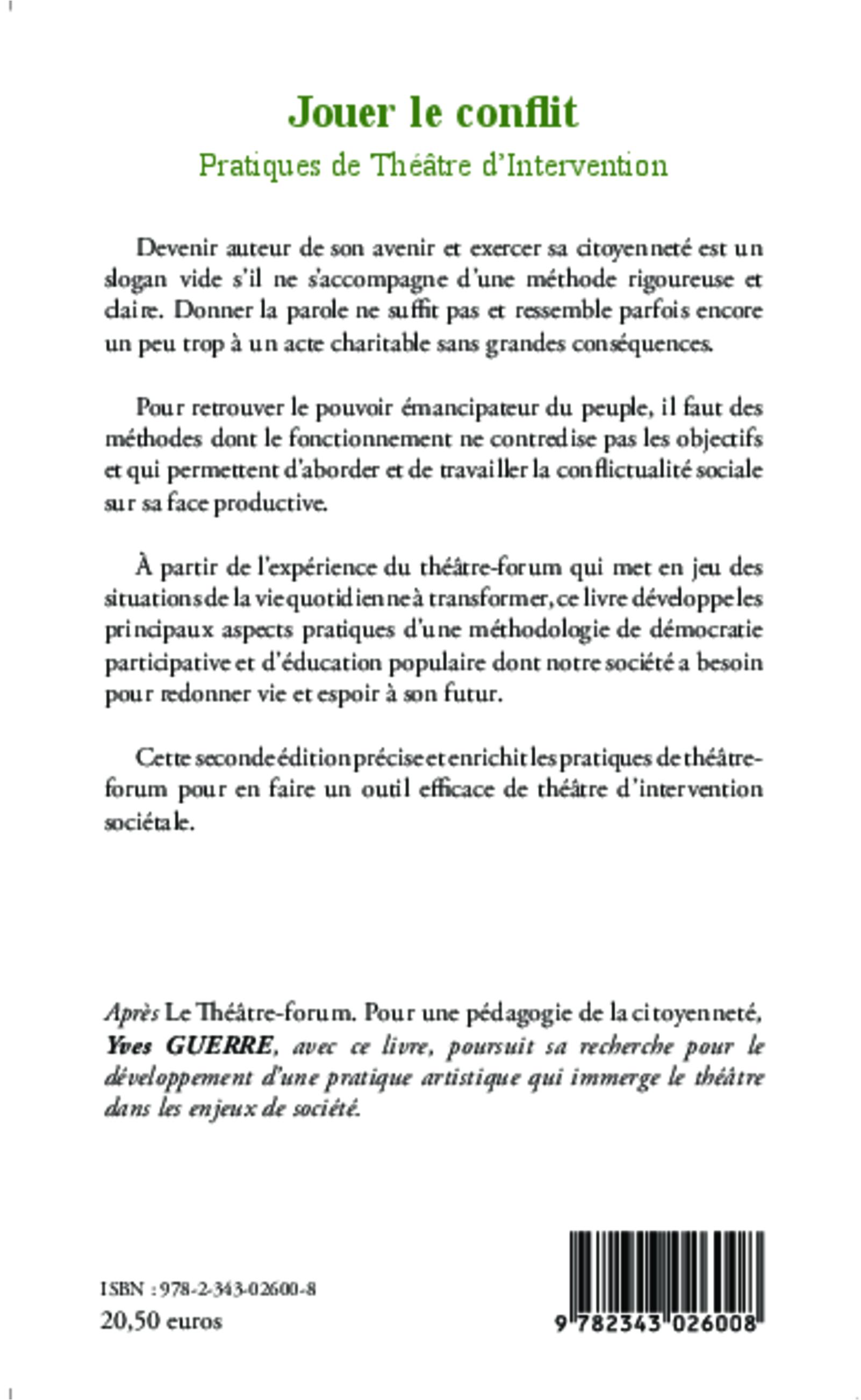 Jouer le conflit : Pratiques de théâtre-forum (Savoir et formation) (French Edition)