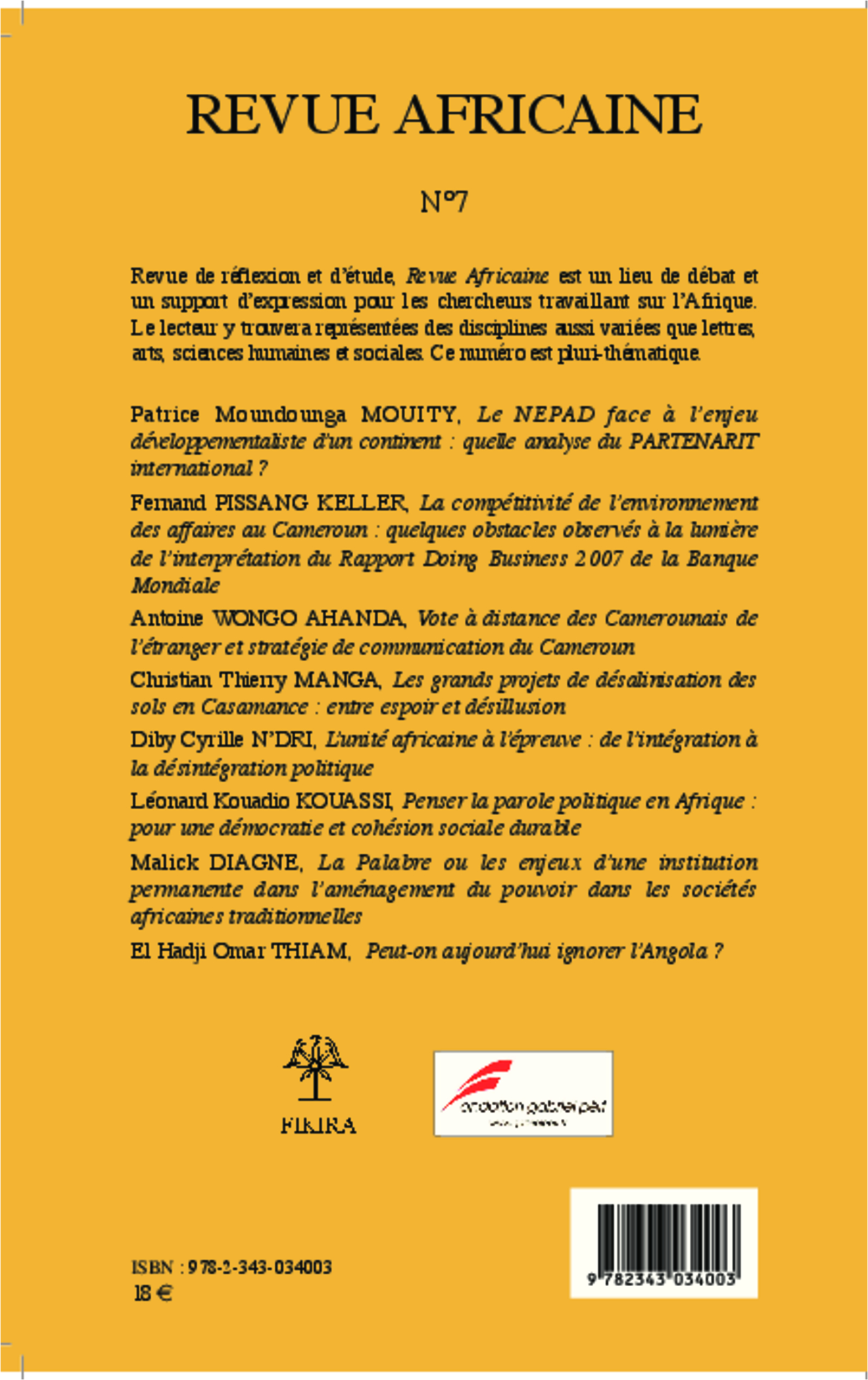 Revue africaine lettres arts sciences humaines et for Revue sciences humaines