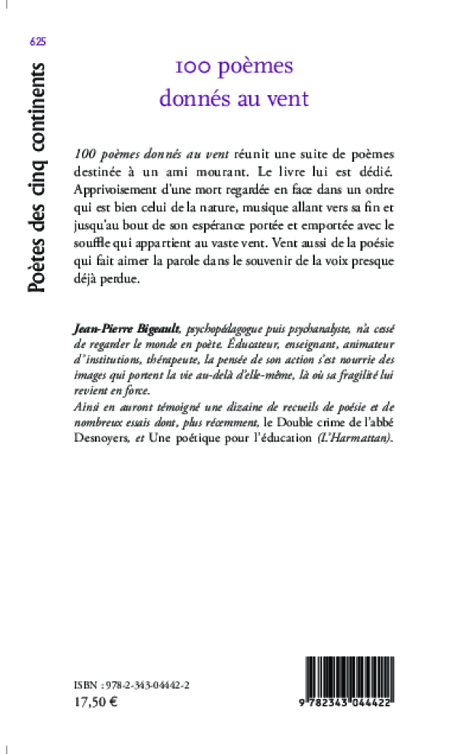 100 Poèmes Donnés Au Vent Suite De Poèmes Jean Pierre