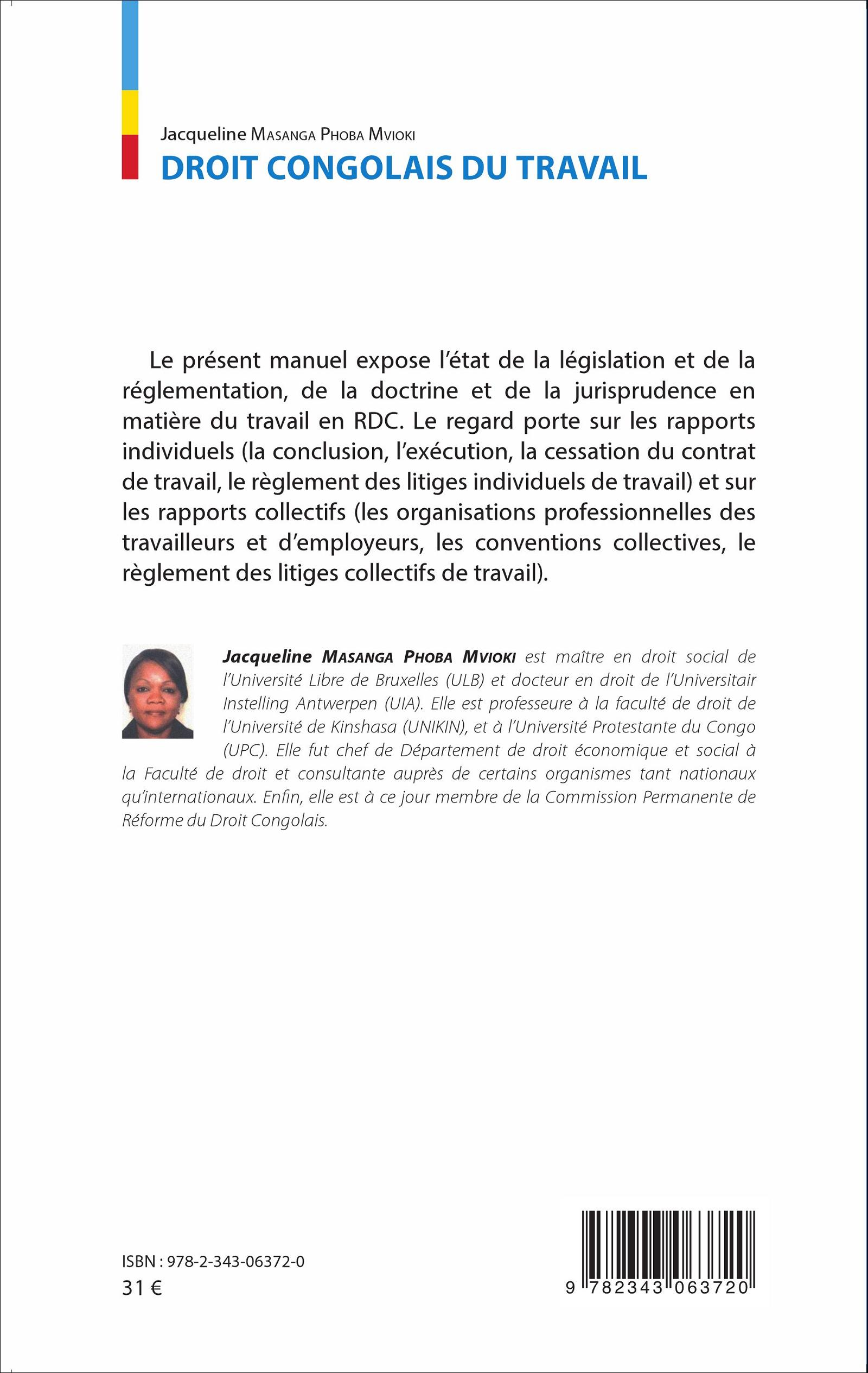 DROIT CONGOLAIS DU TRAVAIL, Jacqueline Masanga Phoba Mvioki