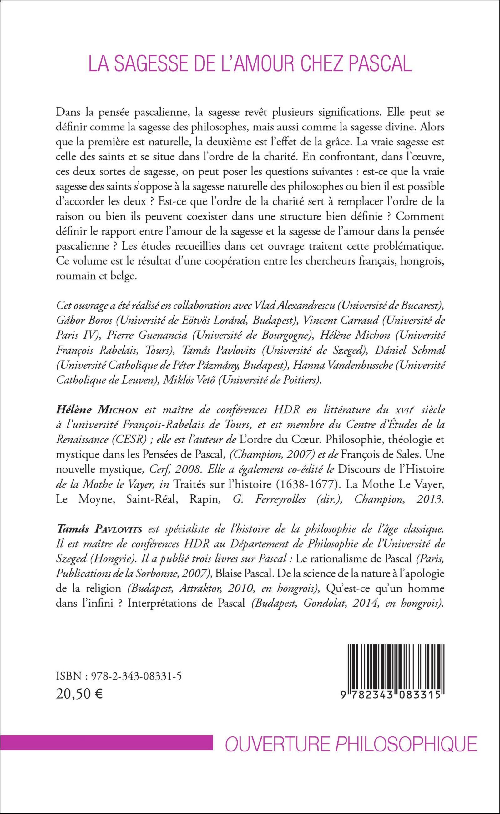 La Sagesse De Lamour Chez Pascal Dirigé Par Hélène Michon Et