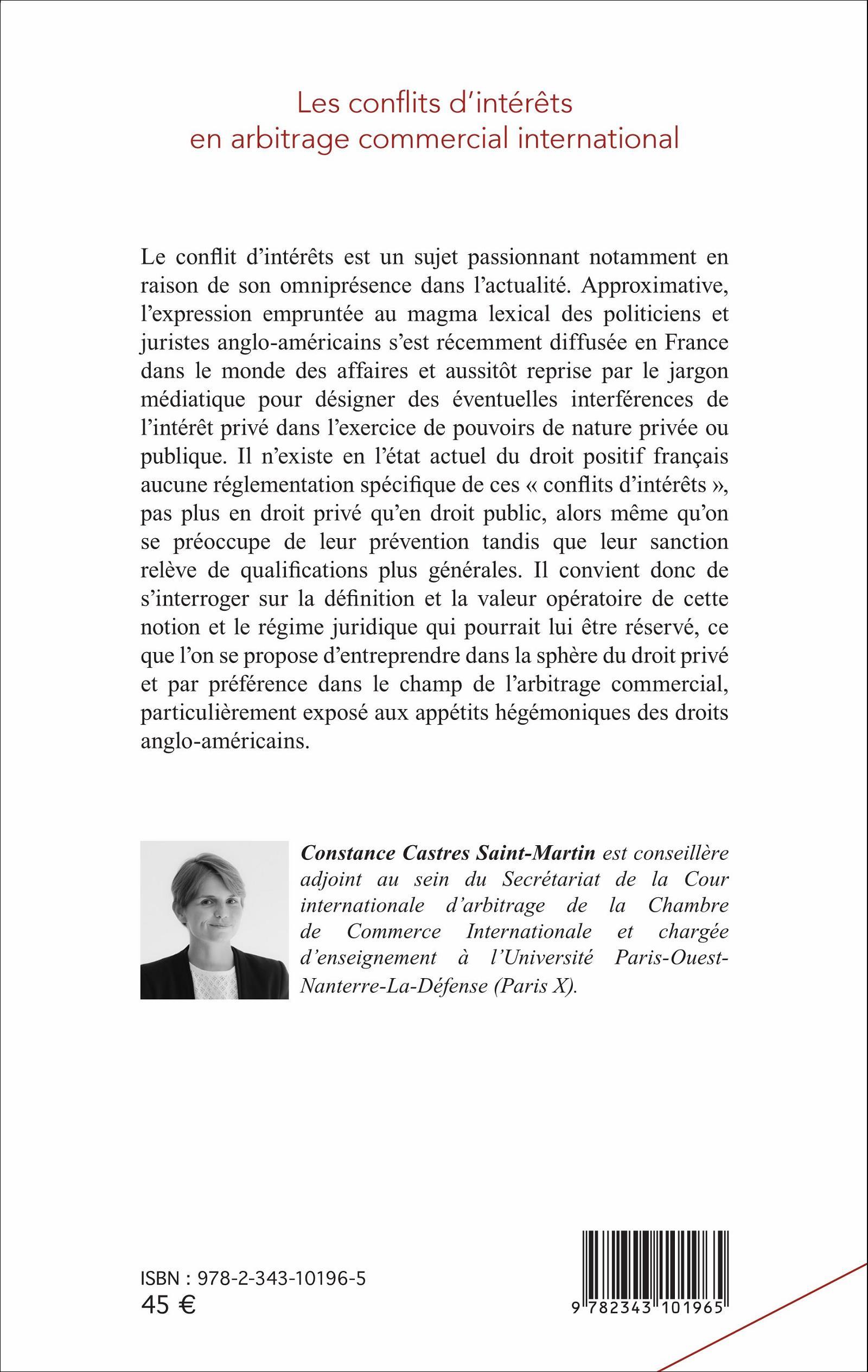 LES CONFLITS D INTéRŠTS EN ARBITRAGE MERCIAL INTERNATIONAL