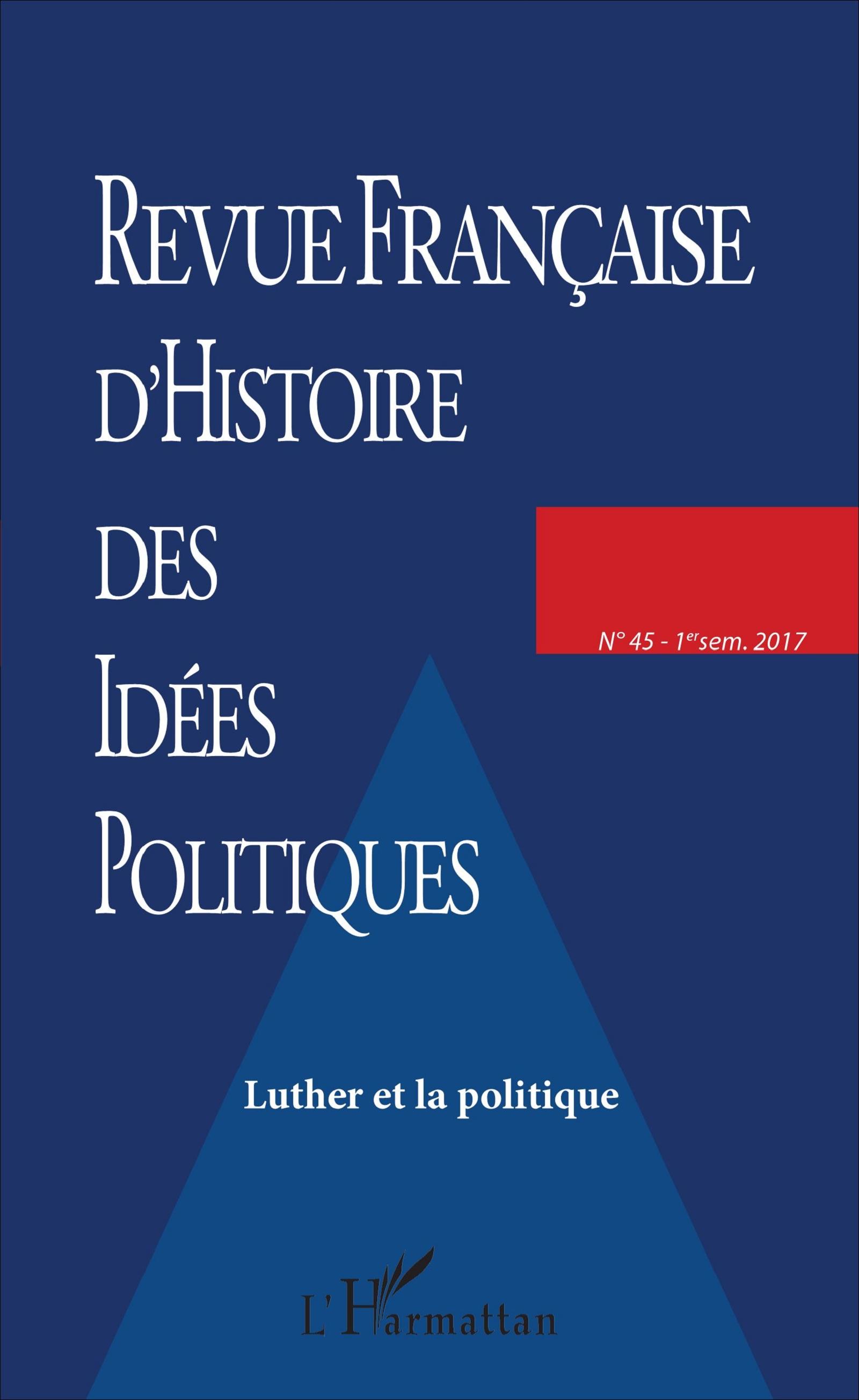 REVUE FRANCAISE D'HISTOIRE DES IDEES POLITIQUES