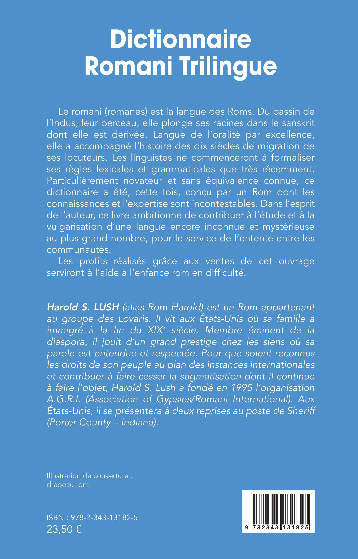 Dictionnaire romani trilingue : romani - français - anglais Harold S. Lush et Félix Monget 9782343131825v