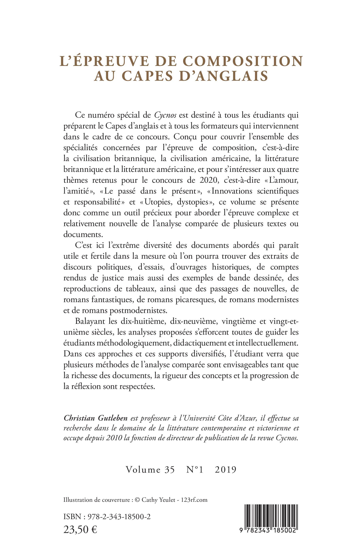 Revues L Epreuve De Composition Au Capes D Anglais Volume 35 N 1 2019 Christian Gutleben Cycnos 1