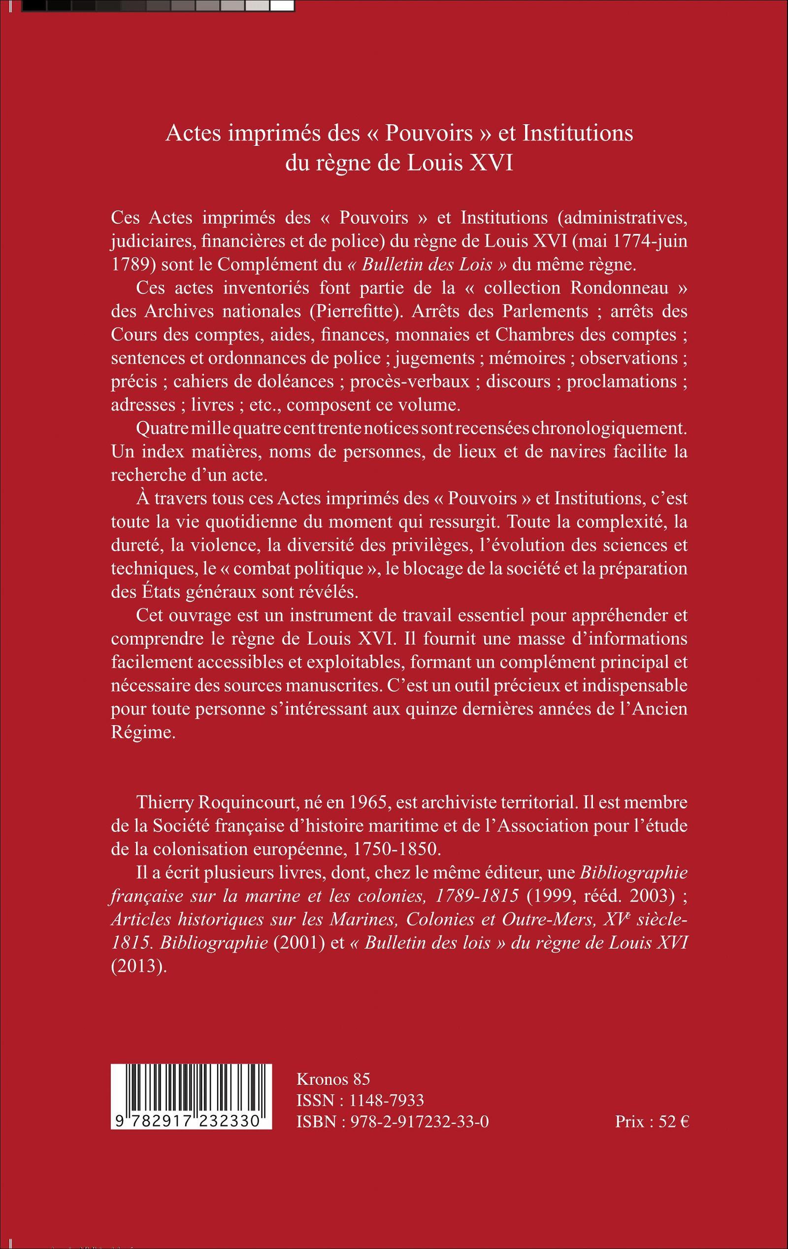 """ACTES IMPRIMÉS DES """"POUVOIRS"""" ET INSTITUTIONS DU RÈGNE DE LOUIS XVI ...: www.editions-harmattan.fr/index.asp?navig=catalogue&obj=livre&no=48172"""