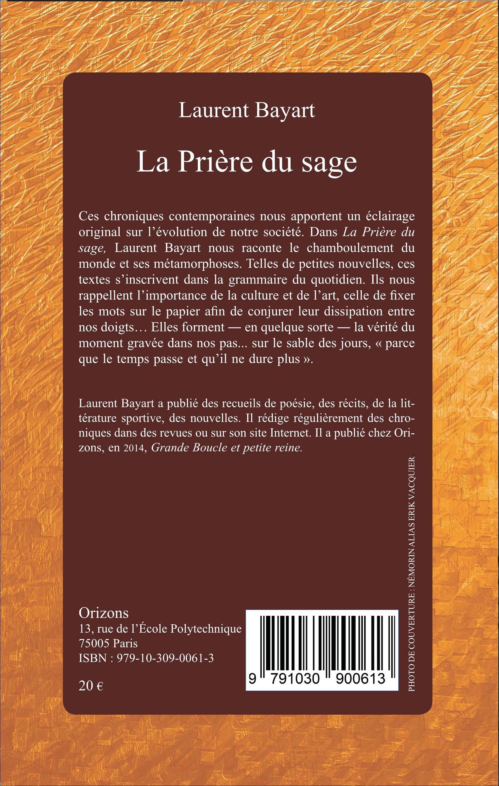 LA PRIˆRE DU SAGE Laurent Bayart livre ebook epub