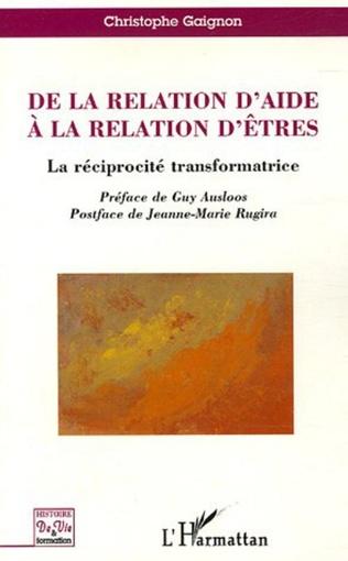 Couverture De la relation d'aide à la relation d'êtres