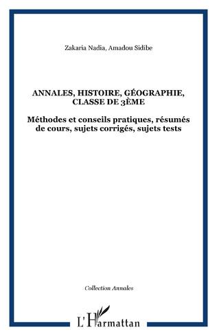Couverture Annales, histoire, géographie, classe de 3ème