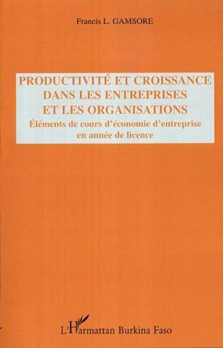 Couverture Productivité et croissance dans les entreprises et les organisations