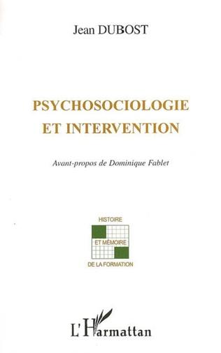 Couverture Psychosociologie et intervention