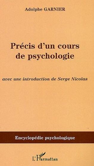 Couverture Précis d'un cours de psychologie