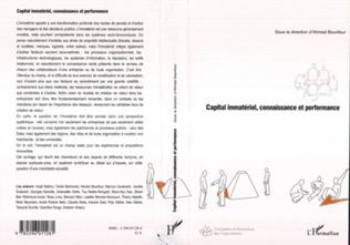 Couverture Capital immatériel, connaissance et performance