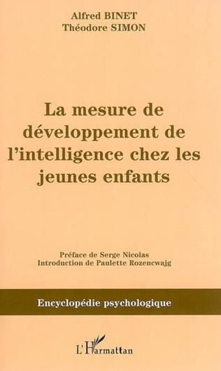 Couverture La mesure du développement de l'intelligence chez les jeunes enfants