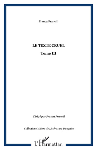 Couverture Le texte cruel