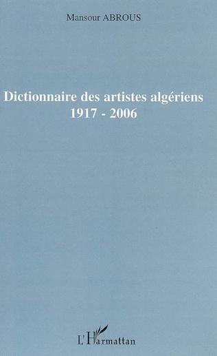 Couverture Dictionnaire des artistes algériens