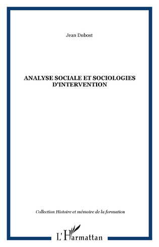 Couverture Analyse sociale et sociologies d'intervention