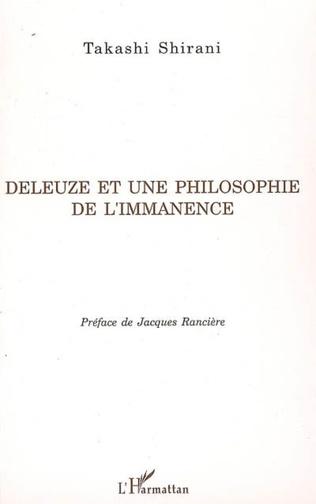 Couverture Deleuze et une philosophie de l'immanence