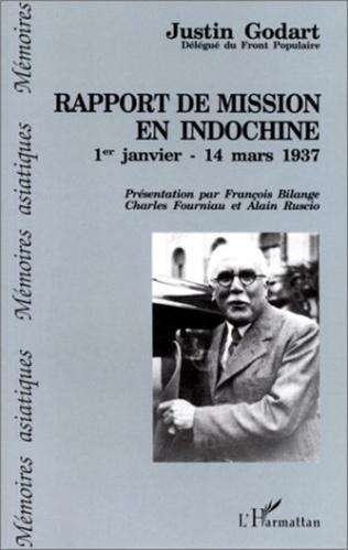 Couverture Rapport de mission en Indochine du 1er janvier au 14 mars 1937