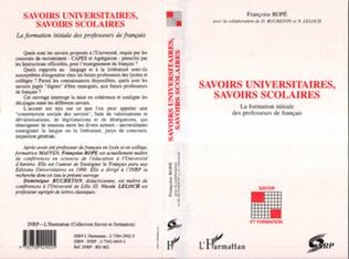 Couverture Savoirs universitaires, savoirs scolaires