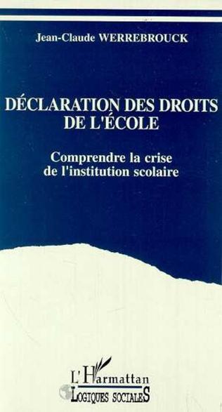 Couverture Déclaration des droits de l'école