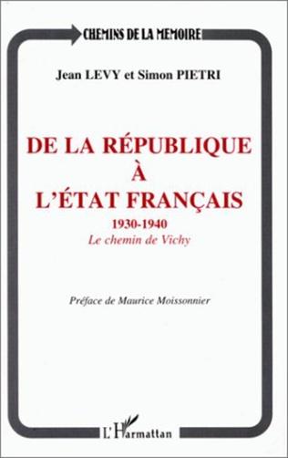 Couverture De la république à l'Etat français 1930-1940