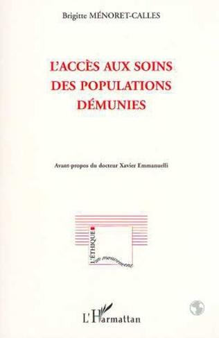 Couverture L'ACCÈS AUX SOINS DES POPULATIONS DÉMUNIES