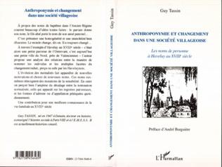 Couverture Anthroponymie et changement dans une société villageoise