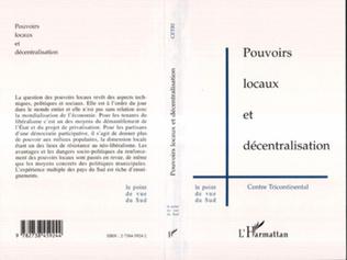 Couverture POUVOIRS LOCAUX ET DÉCENTRALISATION