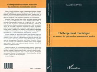 Couverture L'HÉBERGEMENT TOURISTIQUE au secours du patrimoine monumenta