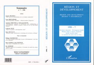 Couverture REGION ET DEVELOPPEMENT N°7