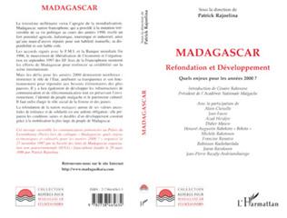Couverture Madagascar refondation et développement