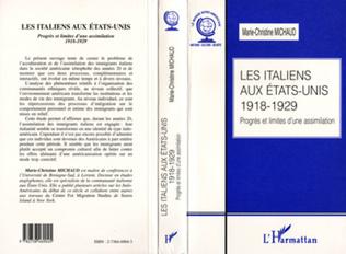 Couverture LES ITALIENS AUX ETATS-UNIS 1918-1929