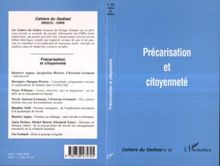 Couverture PRÉCARISATION ET CITOYENNETÉ
