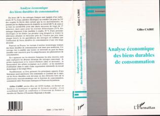Couverture ANALYSE ÉCONOMIQUES DES BIENS DURABLES DE CONSOMMATION