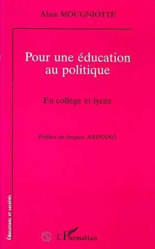 Couverture POUR UNE EDUCATION AU POLITIQUE