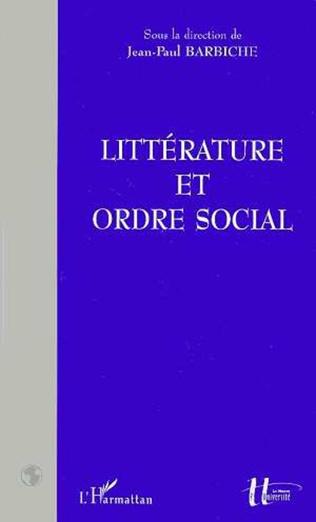 Couverture LITTÉRATURE ET ORDRE SOCIAL