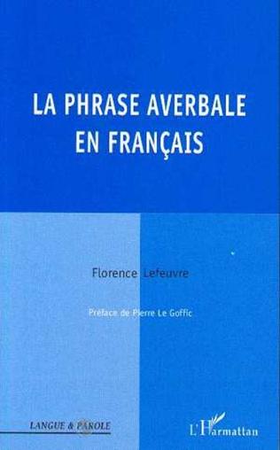 Couverture La phrase averbale en français