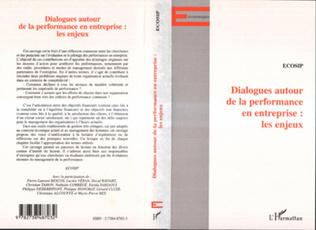 Couverture DIALOGUE AUTOUR DE LA PERFORMANCE EN ENTREPRISE : LES ENJEUX