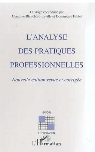 Couverture L'analyse des pratiques : questions conceptuelles